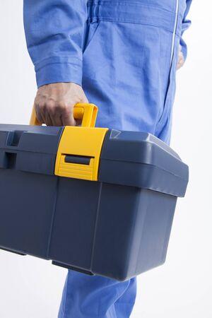 Mechanic with tool box Standard-Bild
