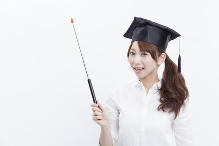 College girls to smile with a pointing stick