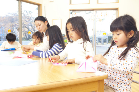 Fold the origami nursery and kindergarten Stock Photo