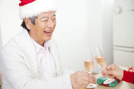Senior men to toast with champagne Stock Photo