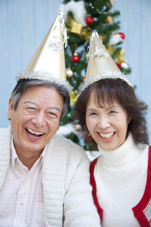 suffered: Senior couples suffered a party triangle hat