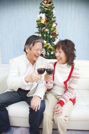赤ワインで乾杯するシニア カップル 写真素材