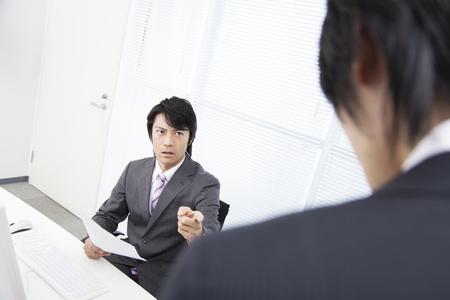 scold: Businessman scold subordinates