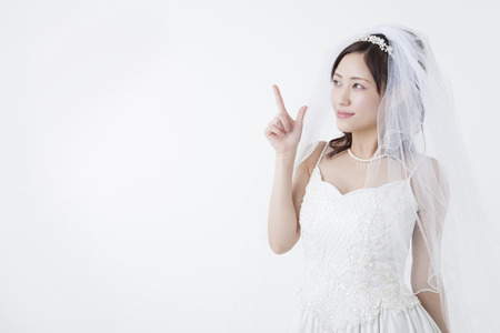 Bride to a finger-pointing Stock Photo