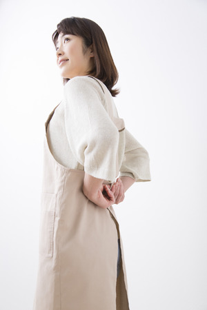 Middle women who put the apron 版權商用圖片