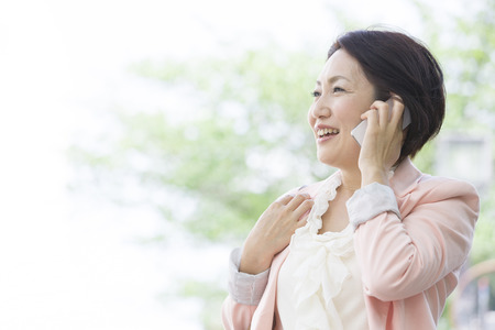 early 40s: Middle woman called with a smile