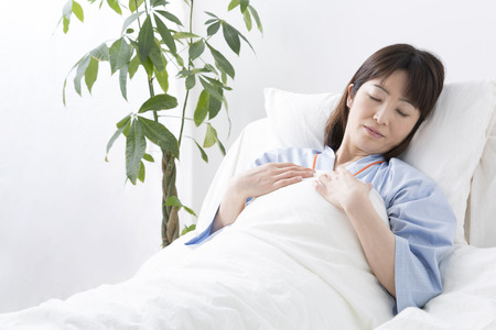 asian hospital: Patients sleep in bed Stock Photo