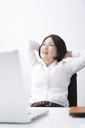 Business woman stretched photo