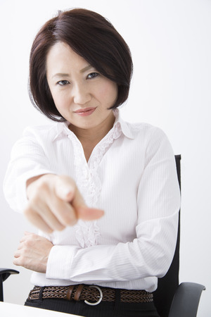 refers: Businesswoman which refers to the finger