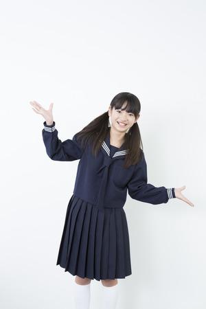 Smiling female junior high school students photo
