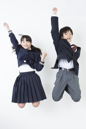 Junior high school studenten om te springen