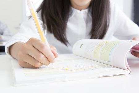 school exam: Elementary school students attend classes