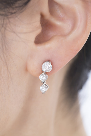 pierce: Ear of the woman wearing a pierced