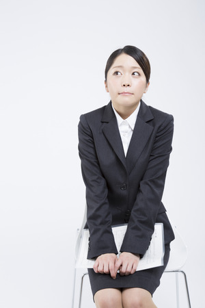 Job hunting woman to wait for the interview Stock Photo