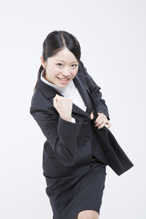 job hunting: Job hunting woman to the guts pose