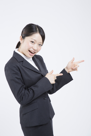 job hunting: Job hunting woman to a finger-pointing