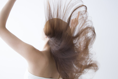 wavering: Back view of women that fluttering hair Stock Photo