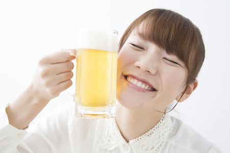 Women with a beer mug