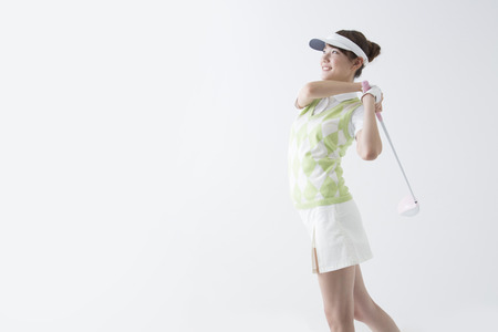 woman white background: Women in golf