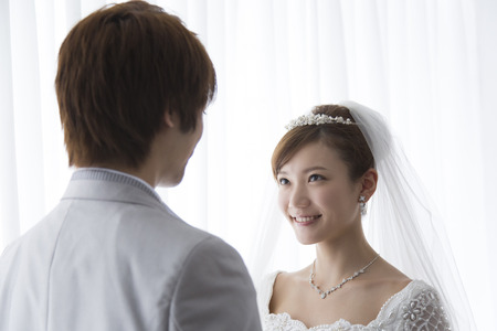 Bride and groom facing photo