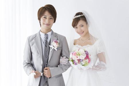 Bride and groom smile Standard-Bild