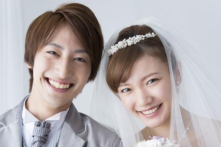 신부와 신랑의 미소