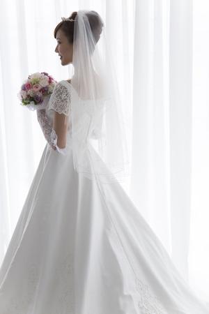 Bruid met boeket Stockfoto