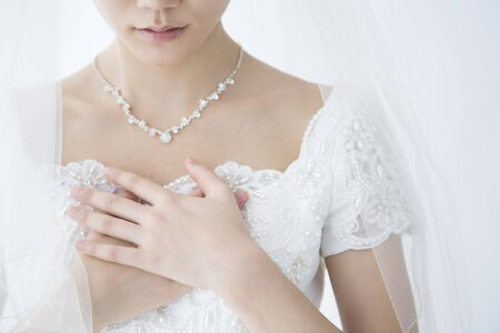 Bride holding breast Stock fotó