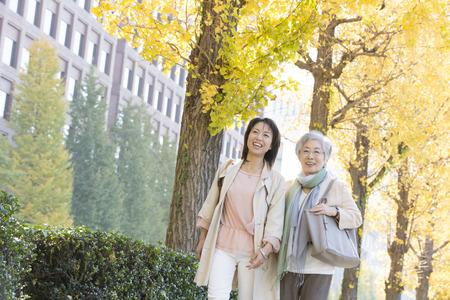 Ginkgo treelined walk mother and daughter 版權商用圖片