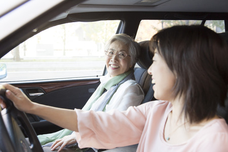 step daughter: Daughter and mother to drive a car