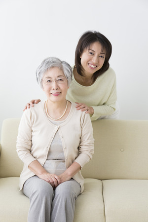 pleasant emotions: Smiling mother and daughter Stock Photo