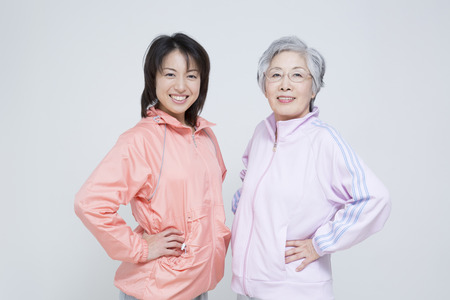 Sportswear up mother and daughter