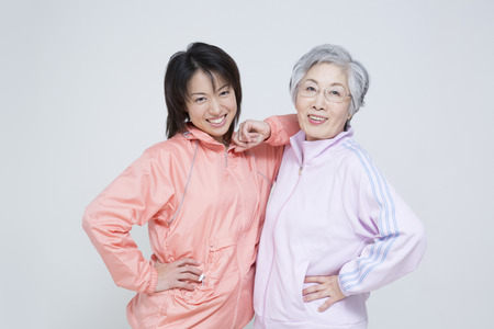 step daughter: Sportswear up mother and daughter