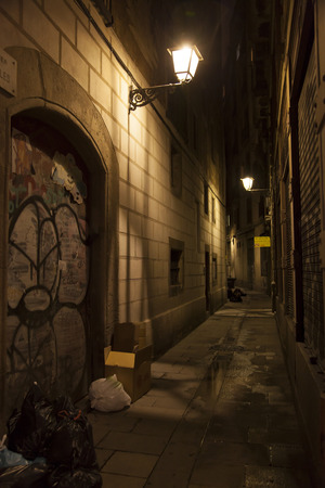 back alley: Barcelona back alley Stock Photo