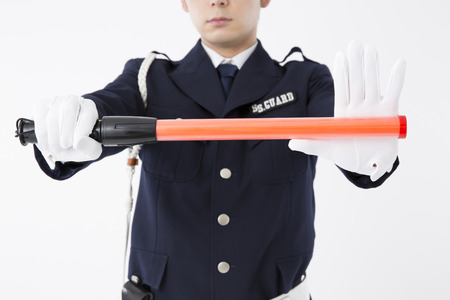 traffic cop: Security guard for the traffic cop Stock Photo