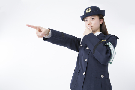 female police: Female police officers to whistle Stock Photo
