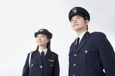 Police officers to look up at the far