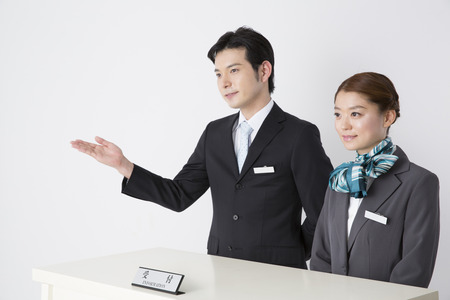 Front staff to guide Stock Photo