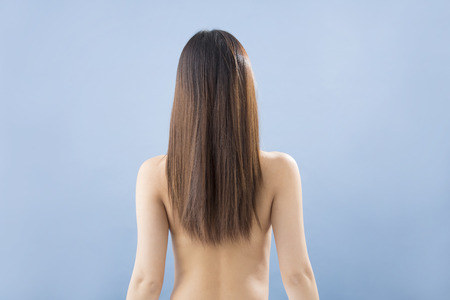 beauty parlour: From behind the long hair woman Stock Photo
