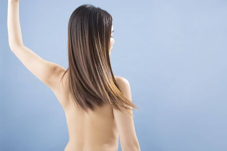 long hair woman: From behind the long hair woman Stock Photo