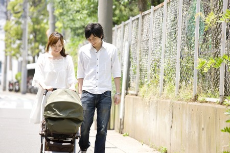 nuclear family: Walk to couple Stock Photo