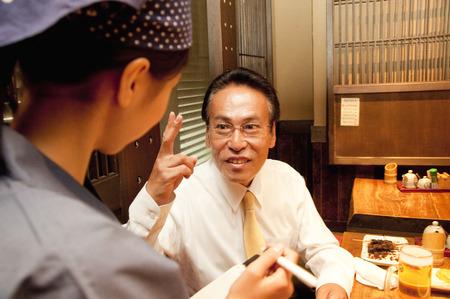 farewell party: Businessman order cuisine