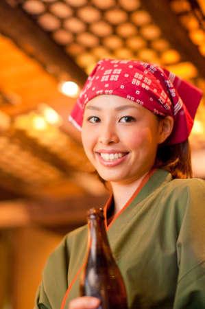 bottled beer: Clerk with bottled beer