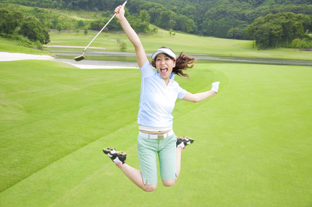 Woman to jump on a golf course