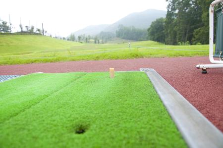 range of motion: Golf driving range Stock Photo