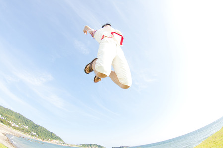 Men jump Stock Photo