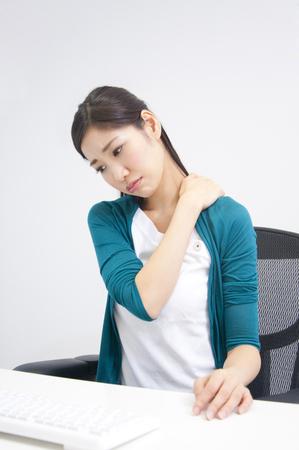 neuralgia: OL suffering from a stiff neck Stock Photo