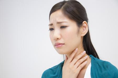 suppress: OL to suppress the throat Stock Photo