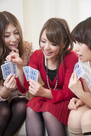 jeu de carte: Trois femmes pour le jeu de cartes Banque d'images