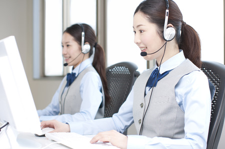headset woman: Call Center operator